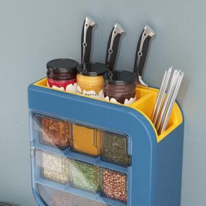 Kitchen Knife Holder Condiment Seasoning Shelf Salt Shaker Multifunctional Wall-Mounted Tableware Storage Box